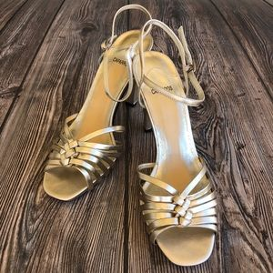 Caparros Gold Metallic High Heels W/ Ankle Strap
